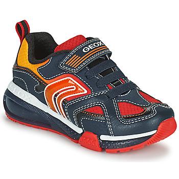 Chaussures Garçon Baskets basses Geox BAYONYC Marine / Orange