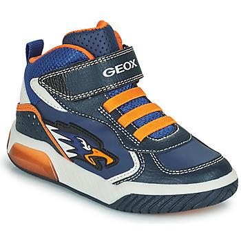 Chaussures Garçon Baskets montantes Geox INEK Marine / Orange