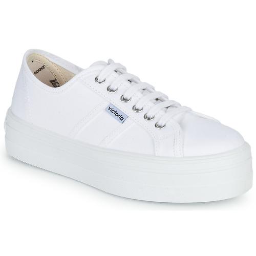 Chaussures Femme Baskets basses Victoria BLUCHER LONA PLATAFORMA Blanc