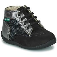 Chaussures Fille Boots Kickers BONZIP-2 Noir / Argenté
