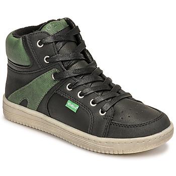 Chaussures Garçon Baskets montantes Kickers LOWELL Noir / Vert
