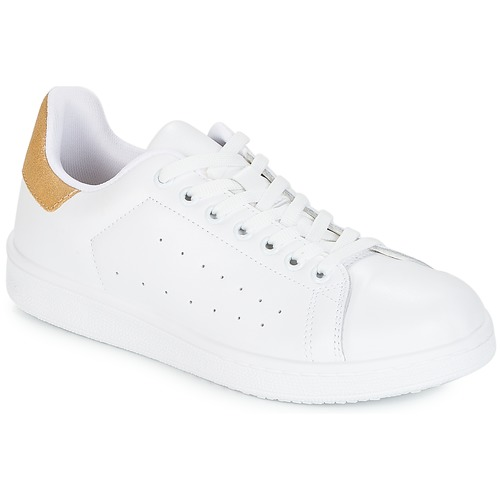 Chaussures Femme Baskets basses Yurban SATURNA Blanc / Or