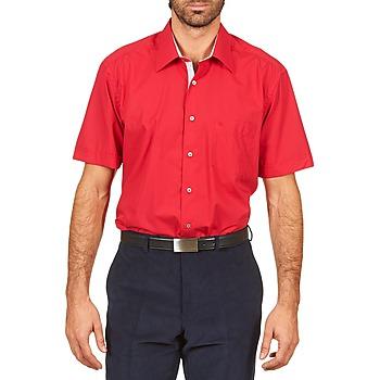 Vêtements Homme Chemises manches courtes Pierre Cardin CH MC POPELINE UNIE - OPPO RAYURE INTERIEUR COL & POIGNET Rose/Rouge