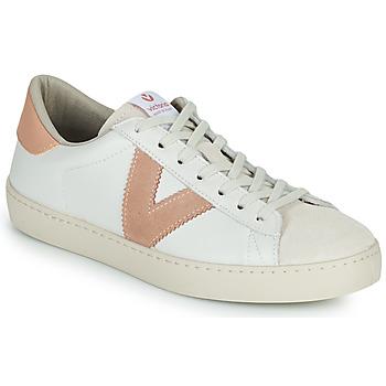 Chaussures Femme Baskets basses Victoria BERLIN PIEL CONTRASTE Blanc / Rose