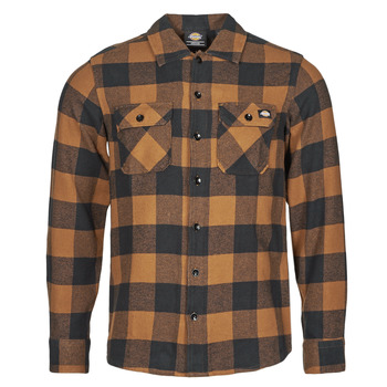 Vêtements Homme Chemises manches longues Dickies NEW SACRAMENTO SHIRT Camel / Noir