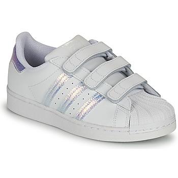 Chaussures Enfant Baskets basses adidas Originals SUPERSTAR CF C Blanc / Argent