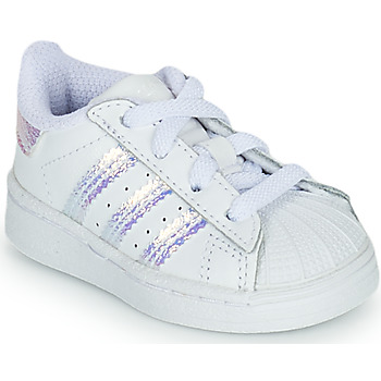 Chaussures Fille Baskets basses adidas Originals SUPERSTAR EL I Blanc / Iridescent