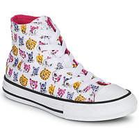 Chaussures Fille Baskets montantes Converse CHUCK TAYLOR ALL STAR JUNGLE CATS HI Blanc / Rose / Jaune