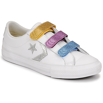 Chaussures Fille Baskets basses Converse STAR PLAYER 3V GLITTER TEXTILE OX Blanc / Multicolore