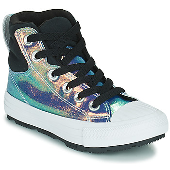 Chaussures Fille Baskets montantes Converse CHUCK TAYLOR ALL STAR BERKSHIRE BOOT IRIDESCENT LEATHER HI Noir brillant