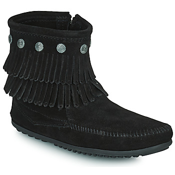 Chaussures Femme Boots Minnetonka DOUBLE FRINGE SIDE ZIP BOOT Noir