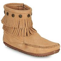 Chaussures Femme Boots Minnetonka DOUBLE FRINGE SIDE ZIP BOOT Marron