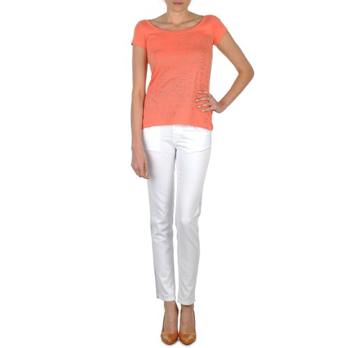 Vêtements Femme Jeans slim Calvin Klein Jeans JEAN BLANC BORDURE ARGENTEE Blanc
