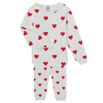 Vêtements Fille Pyjamas / Chemises de nuit Petit Bateau CASSANDRE Blanc / Rouge