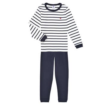 Vêtements Garçon Pyjamas / Chemises de nuit Petit Bateau TECHI Blanc / Bleu