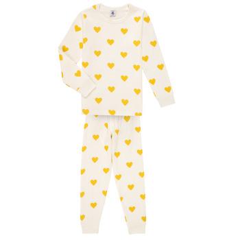 Vêtements Fille Pyjamas / Chemises de nuit Petit Bateau LERINU Blanc / Jaune