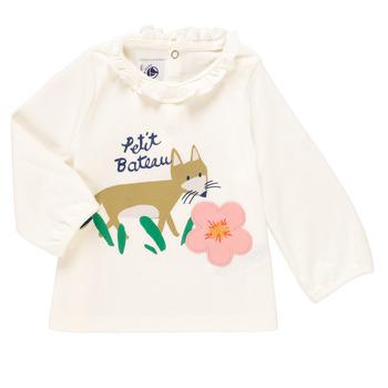Vêtements Fille T-shirts manches longues Petit Bateau ENLEVE Blanc