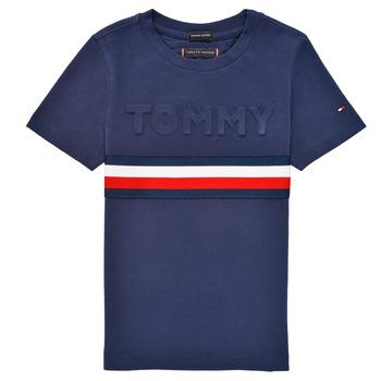 Vêtements Garçon T-shirts manches courtes Tommy Hilfiger ELEONORE Marine