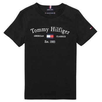 Vêtements Garçon T-shirts manches courtes Tommy Hilfiger YASSINE Noir