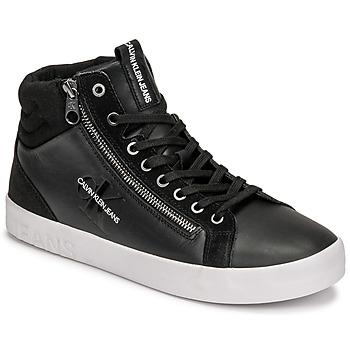 Chaussures Homme Baskets montantes Calvin Klein Jeans VULCANIZED MID LACEUP Noir