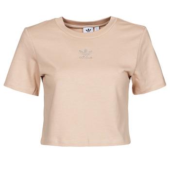 Vêtements Femme T-shirts manches courtes adidas Originals CROPPED  TEE Beige