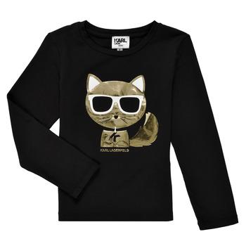 Vêtements Fille T-shirts manches longues Karl Lagerfeld AMETHYSTE Noir
