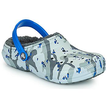 Chaussures Garçon Sabots Crocs CLASSIC LINED CAMO CG K Gris / Bleu