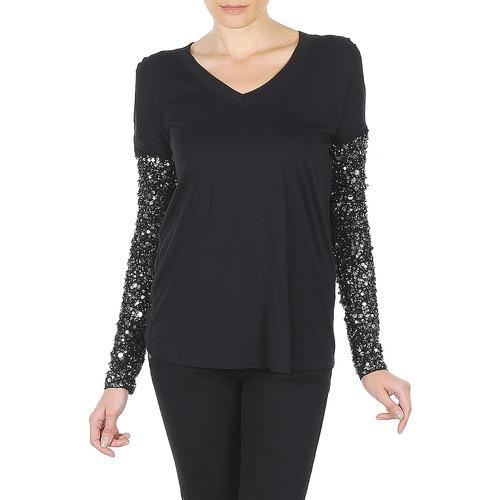 Vêtements Femme T-shirts manches longues Manoush TSHIRT ML INDIAN BASIC Noir