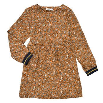 Vêtements Fille Robes courtes Name it NKFKRINFRA LS DRESS Orange