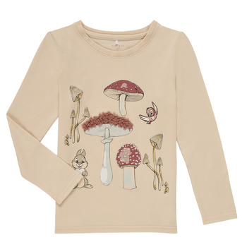 Vêtements Fille T-shirts manches longues Name it NMFTHUMPER ALFRIDA LS TOP Beige