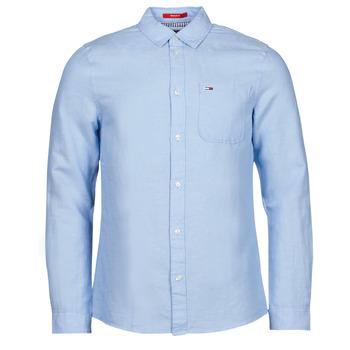 Vêtements Homme Chemises manches longues Tommy Jeans TJM LINEN BLEND SHIRT Bleu