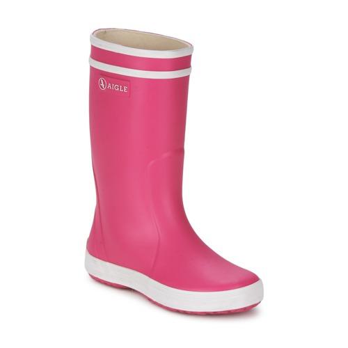 Chaussures Fille Bottes de pluie Aigle LOLLY POP Rose / Blanc