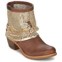 Chaussures Femme Boots Bunker RIA Strass Taupe / Dorée