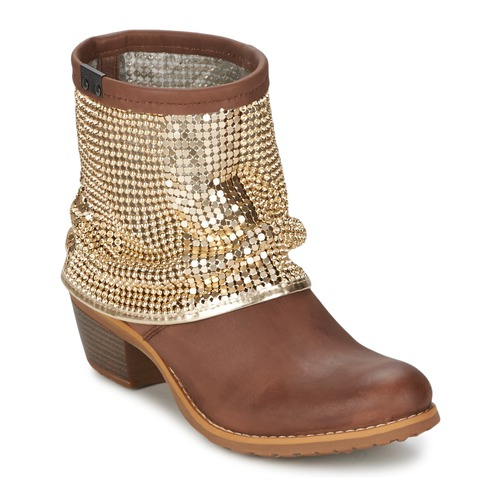 Chaussures Femme Bottines Bunker RIA Strass Taupe / Dorée