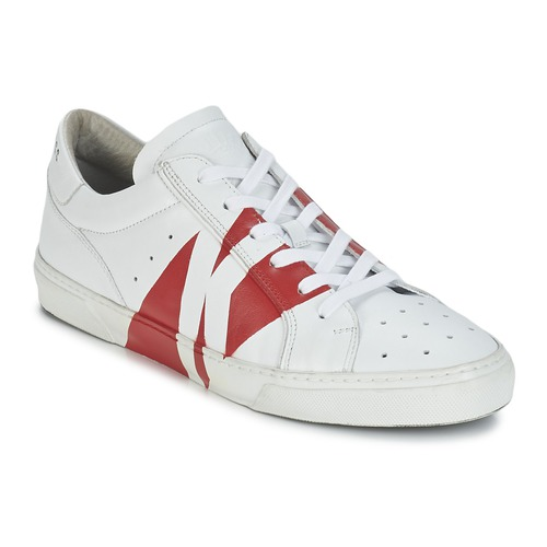 Chaussures Homme Baskets basses Bikkembergs RUBB-ER 668 LEATHER Blanc / Rouge