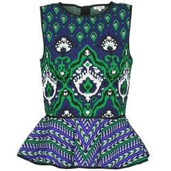 Vêtements Femme Débardeurs / T-shirts sans manche Manoush JACQUARD OOTOMAN Bleu / Noir / Vert