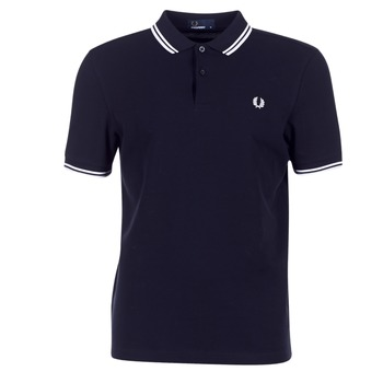 Vêtements Homme Polos manches courtes Fred Perry TWIN TIPPED FRED PERRY SHIRT Marine / Blanc