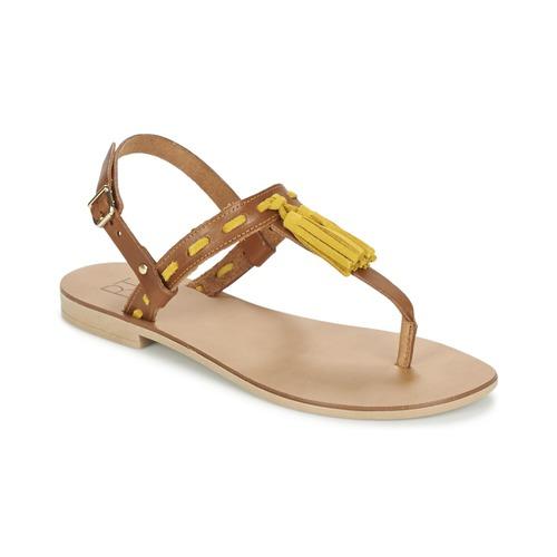 Chaussures Femme Sandales et Nu-pieds Betty London ELOINE Marron / Jaune