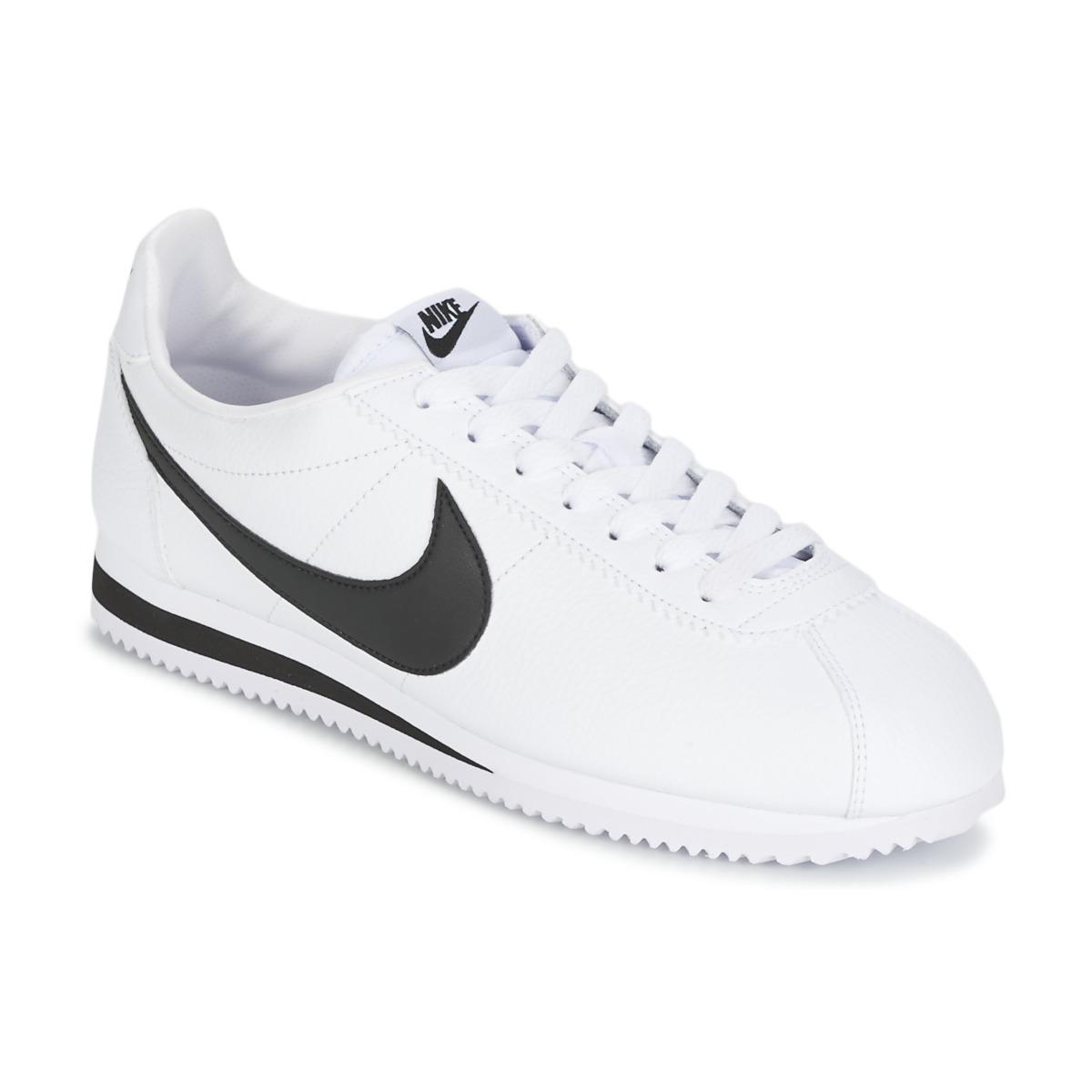 236bf617d2d57 Nike CLASSIC CORTEZ LEATHER Blanc   Noir - Chaussure pas cher avec Shoes.fr  ! - Chaussures Baskets basses Homme 75