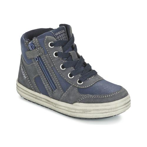 Chaussures Garçon Baskets montantes Geox ELVIS Bleu / Gris