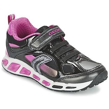Chaussures Fille Baskets basses Geox SHUTTLE GIRL Noir / Rose
