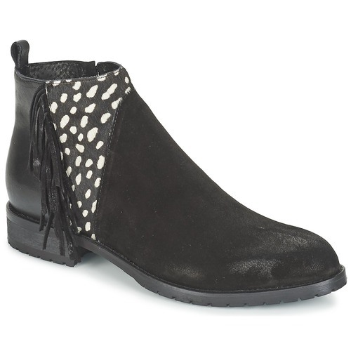 Chaussures Femme Boots Meline VELOURS NERO PLUME NERO Noir / Blanc