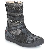 Chaussures Fille Bottes ville GBB NOURIA Noir / Métallisé