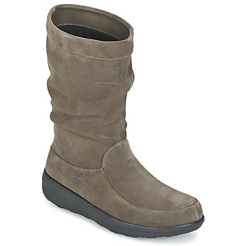 Chaussures Femme Boots FitFlop LOAF SLOUCHY KNEE BOOT SUEDE Taupe