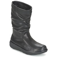 Chaussures Femme Boots FitFlop LOAF SLOUCHY KNEE BOOT LEATHER Black