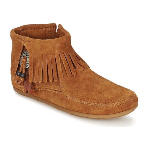 Chaussures Femme Boots Minnetonka CONCHO FEATHER SIDE ZIP BOOT Marron