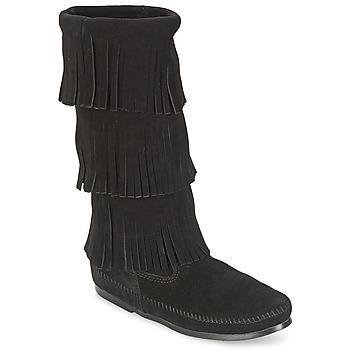 Chaussures Femme Bottes ville Minnetonka CALF HI 3 LAYER FRINGE BOOT Noir