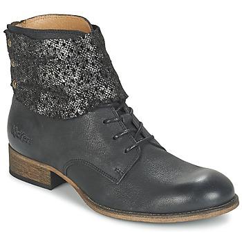 Chaussures Femme Boots Kickers PUNKYZIP Noir Brillant