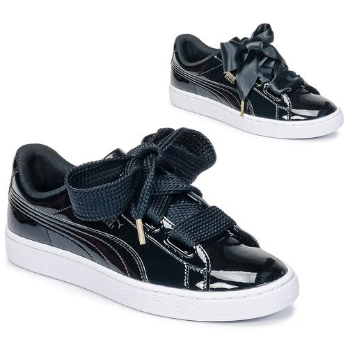 Puma BASKET HEART PATENT WN'S Noir Verni Chaussure pas