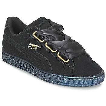 Chaussures Air max tnFemme Baskets basses Puma BASKET HEART SATIN WN'S Noir
